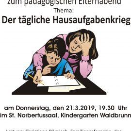 Pädagogischer Elternabend am 21.3. im Norbertussaal Waldbrunn